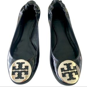 Tory Burch black patent leather flats.  Size 8.5